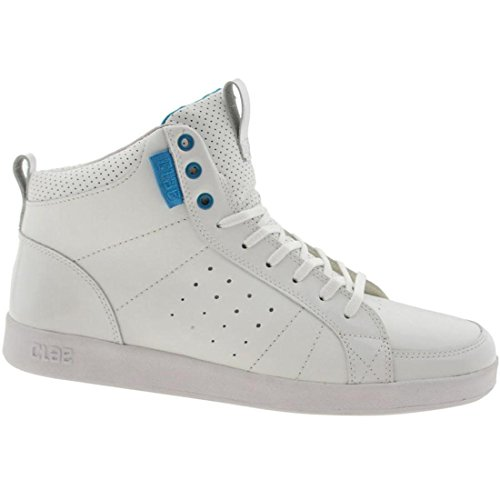 Clae Men's Russell (white / white patent / blue)-7.0