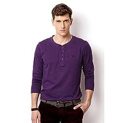 Rodid Solid Men's Henley Purple T-Shirt_S
