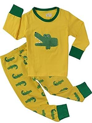 Crocodile Pajamas for Boys Sleepwear Cotton Kids 2 Piece Clothes Pants Sets