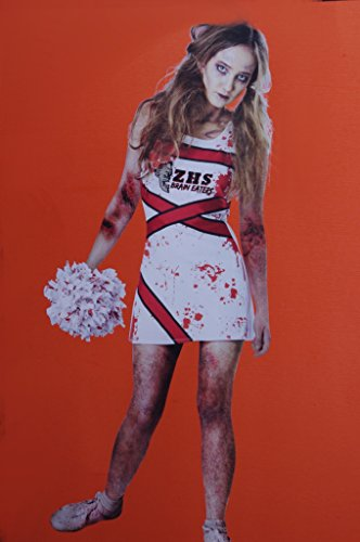 Teen Girls Zombie Cheerleader Costume and Pom Pom Large 7-9