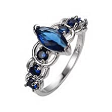buy Jacob Alex Ring Blue Sapphrie Cz Promise/Engagement Rings Size 6 10Kt White Gold Filled Jewelry