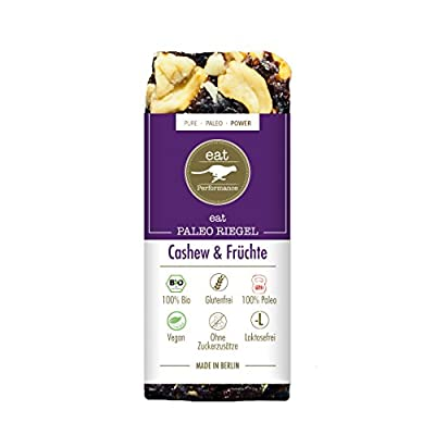 Paleo Bar Cashews & Fruits (10x 40g) by eat Performance (organic & vegan cereal bar, no added sugar, gluten free, lactose free, superfood)