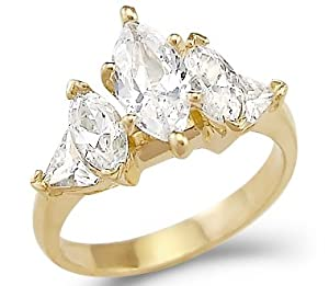 14k Two Tone Gold Over 925 Sterling Silver Two Stone Green Tourmaline and White Cubic Zirconia Engagement Couple Ring 1.00 Ct