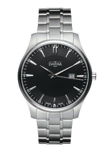 Davosa Men's Classic Analogue Watch 16346355 with Black Dial and  40 mm Stainless Steel Case