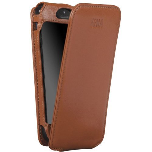 Best Price Sena 826102 Magnet Flipper Leather Case for iPhone 5 & 5s - 1 Pack - Retail Packaging - Tan