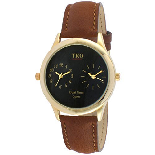 tko-dual-time-zone-gold-watch-brown-leather-strap-for-world-traveler-or-flight-attendant-tk657br