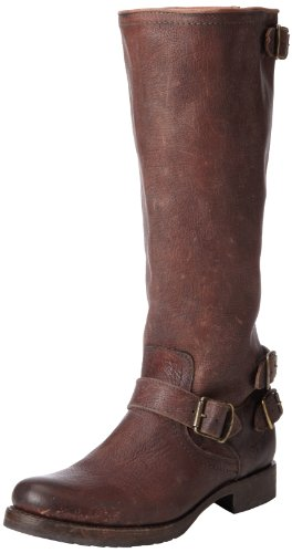 frye womens veronica back zip boot dark brown stone antique 7