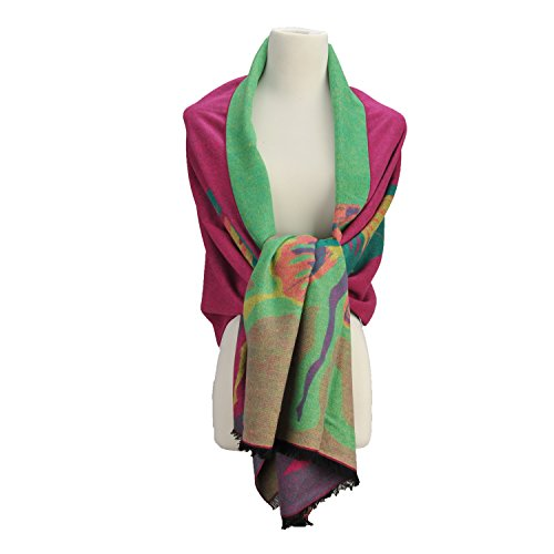 New Style Extra Long Soft Jacquard Mulberry Silk Blend Shawl Wrap Regency Lady (Extra Wide Pashmina compare prices)