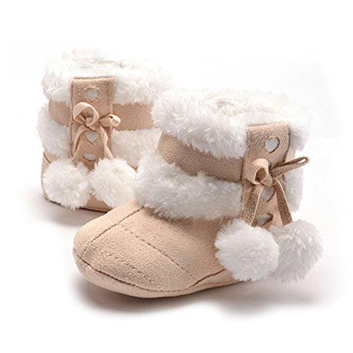 Neonata Snow Boots Scarpe Inverno Caldo Infantili di Scarpine Primi Passi (M: 6~12 mesi, Beige)