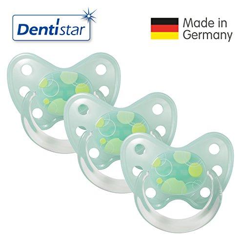 3x Dentistar® Latex-Schnuller - Nuckel-Motiv: Kreise, Farbe: türkis, Größe: 3 - Beruhigungs-Sauger für Junge & Mädchen von ab 14 Monaten als Geschenk zur Geburt - zahnfreundlich, BPA-frei, Greif-Ring (3er-Set)