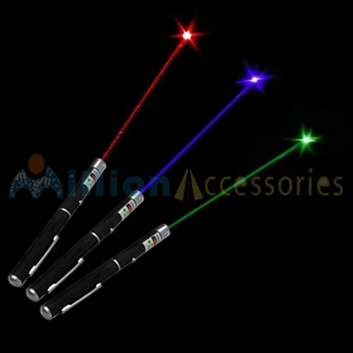 MillionAccessories 3pcs Combo Military Laser Pointer Pen Green Blue/violet Red 5mw High Power