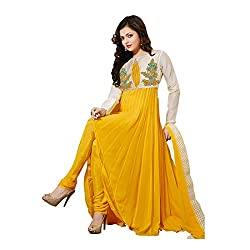 3G9 shop Designer Yellow White Georgette Embroidered Semi Stitched Embroidered Salwar Suit Dress Material