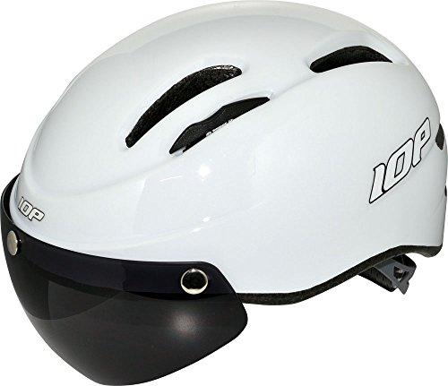 IOPヘルメット[エアロタイプ] シールド付き 自転車用ヘルメット(大人用)白