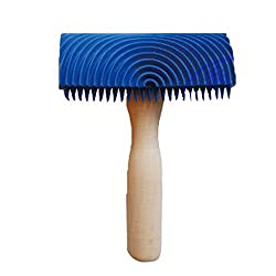 Magideal Wood Graining Pattern Rubber Painting Tool with Handle Wall Decor Blue02