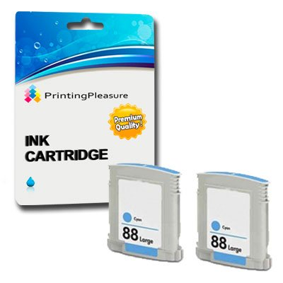 HP 88XL 2 x Cyan Tinte Patronen kompatibel F&#252;r HP Officejet Pro K5400, K5400dn, K5400dtn, K5400n, K550, K8600, K8600dn, L7480, L7580, L7590, L7680, L7700, L7780 by Printing Pleasure PP PREMIUM