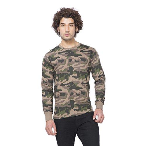 Clifton Men's Army R-Neck Full Sleeve T-Shirt - Walnut - Small