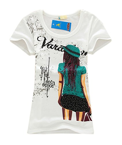 Am Clothes Womens Cotton Print Short Sleeve Top Blouses T-Shirt (F-White) front-475568