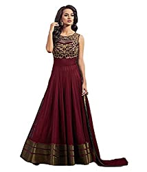 Shital Fashion World Women's Maroon Embroidered Net Western Wear Gown