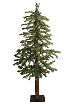 #!Cheap 4' Pre-Lit Two-Tone Alpine Artificial Christmas Tree - Clear Lights