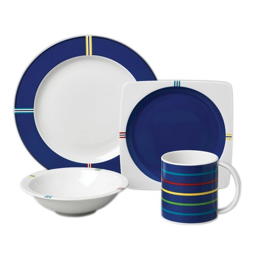 Buy Nautica On Deck Blue 16pc Dinnerware Set, Service for 4