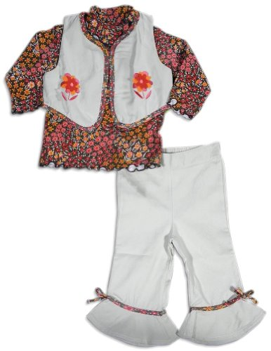 Snopea - Baby Girls 3 Piece Long Sleeve Floral Pant Set, Beige, Brown 25826-9Months front-945698