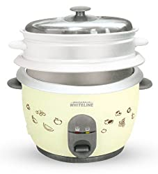 Maharaja Whiteline 180 A DLX 650-Watt Rice Cooker (Pearl White)