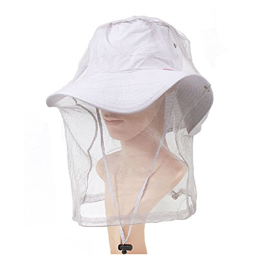 elastic-insectes-head-net-mesh-masque-anti-mosquito-bee-gris-clair