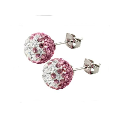Tresor Paris Le Fresne Pink And White Crystal Earrings 10mm