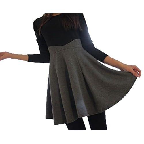 着痩せ シルエット ! 切り替え 長袖 スカート ワンピース エレガント スタイル レディース ファッション / ブラック × グレー / S M L XL XXL 大きい サイズ あります! (ブラック × グレー, L)