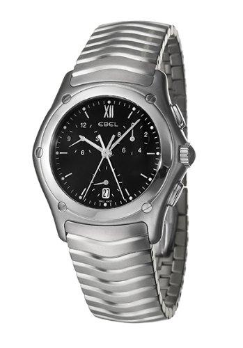 Ebel - 9251F41-5325 - Classic Wave - Montre Homme - Quartz Chronographe - Cadran Noir - Bracelet Acier Argent