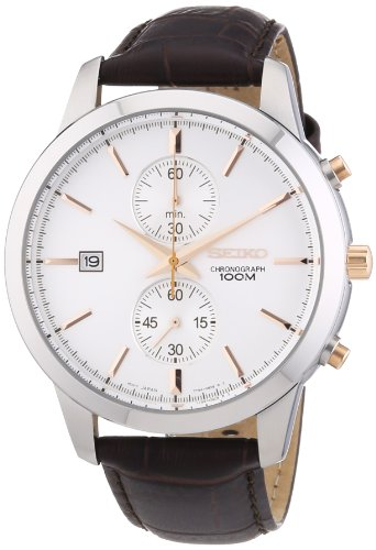 Seiko Chronograph Silver Dial Stainless Steel Mens Watch Snn277