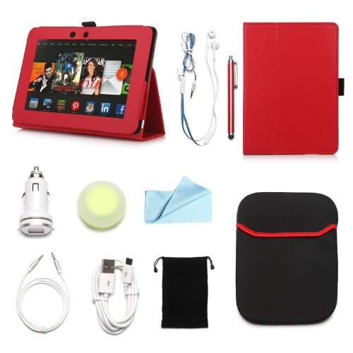 """Arion Kindle 10-Item Accessory Bundle Kit For Amazon Kindle Fire Hd 7"""" Tablet - Folio Stand Pu Leather Case, Cleaning Cloth, Stylus Pen,Car Charger,Usb Cable, Aux Cable, Earphone, Wire-Holding Box, Sleeve Case, Drawstring Travel Pouch (Red, Leather Case W"""