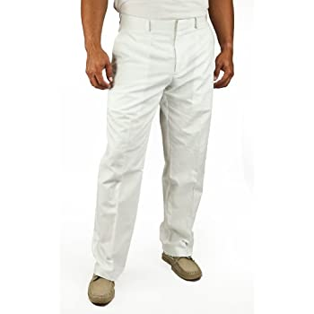 Slim Fit Cotton White Linen Flat Front Pant by Cubavera