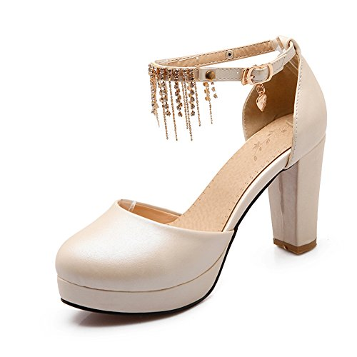 Impermeabile diamante grezzo in primavera e in autunno con le scarpe di baotou/ frangiate con scarpe tacco alto-A Lunghezza piede=23.8CM(9.4Inch)