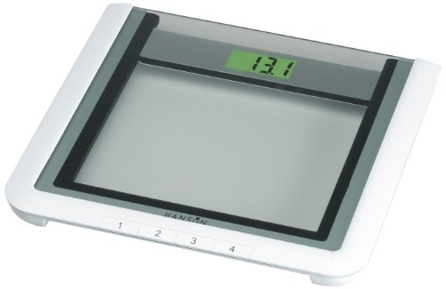 Hanson HXM50 Glass Electronic Bathroom Scale with Memory Clear