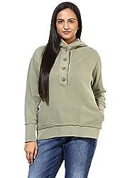 GRAIN Light Olive Green Regular fit Cotton Jackets for Women