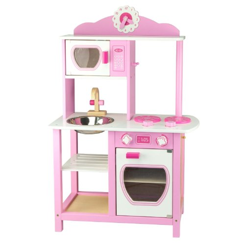 Viga Little Chef Wooden Kitchen Pink & White