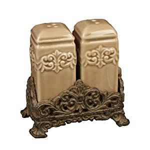 Drake Design 3405 Salt and Pepper Set Taupe 4.5x5 Inch