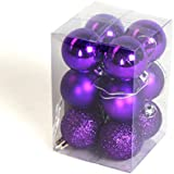 12 Assorted Finish Shatterproof Home Baubles Decorations (Purple, 40mm)