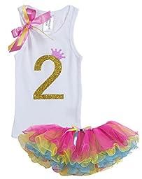 Baby Girls 2nd Birthday Rainbow Tutu Tank Top Shirt Set By Bubblegum Divas