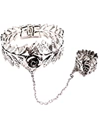 Importe European Style Alloy Slave Rose Bracelet With Ring Chain Retro Jewelry