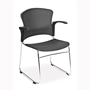 MultiUse Plastic Stack Chair [Set of 4] Color: Gray, Style: Without Arms