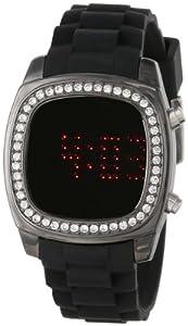 TKO ORLOGI Women's TK571-BK Crystalized Mirror Digital Black Rubber Strap Watch