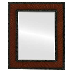 Ornate wood rectangle beveled wall mirror in a cherry paris style vintage cherry for Cherry wood framed bathroom mirrors