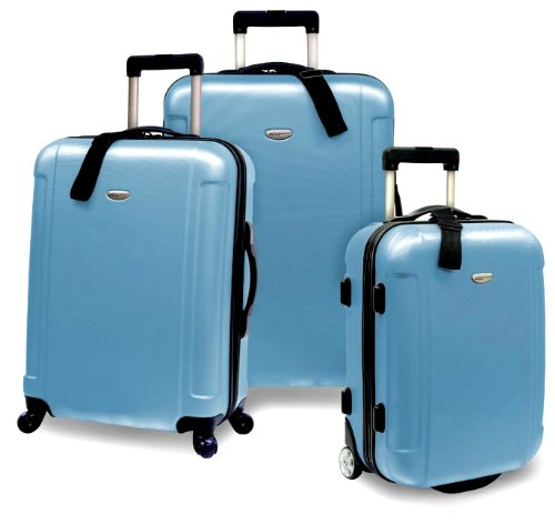 Travelers Choice Freedom 3 Piece Lightweight Hard-Shell Spinning Rolling Luggage Set, Arctic Blue, Large best buy