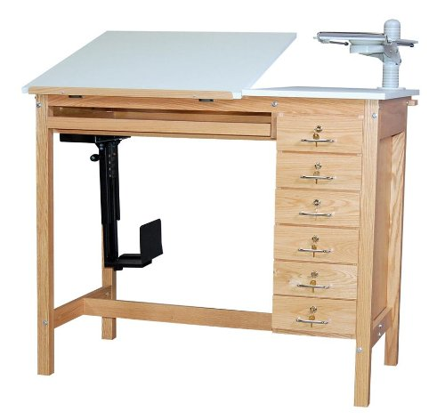 SMI Computer Drafting Table in Oak w 6 Randomly Keyed Drawers & Adjustable Monitor Arm (30 in. L x 48 in. W x 39.5 in. H)