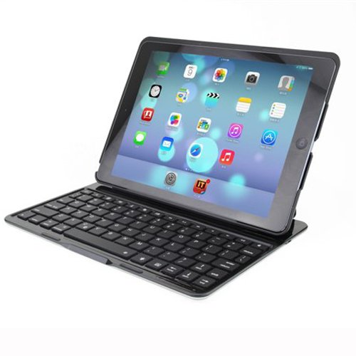Ultra-Thin Aluminum Folio Backlit Wireless Bluetooth Luminous Keyboard Stand Case Cover For Ipad Air Ipad 5 (Black)