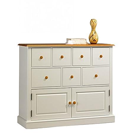 Beaux muebles no caros-Buffet blanco y Miel-Cómoda 7 cajones
