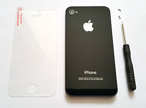 New Replacement Rear Glass Back Cover Battery Door For iphone 4 CDMA Verizon,Sprint A1349 (Black) + 1 Screw Driver, 2 Pentalobe Screws, and 1 Screen