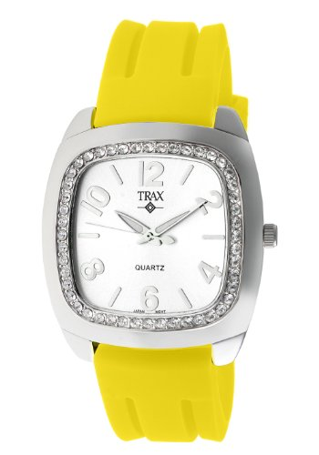 Trax Women's TR1740-WY Malibu Fun Yellow Rubber White Dial Crystal Watch